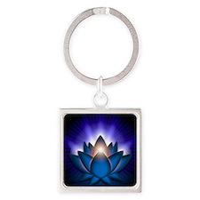 Chakra Lotus - Throat Blue - banne Square Keychain