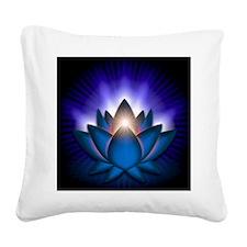 Chakra Lotus - Throat Blue -  Square Canvas Pillow