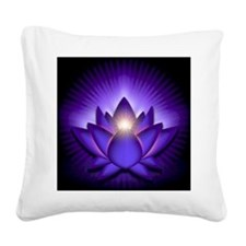 Chakra Lotus - Third Eye Purp Square Canvas Pillow