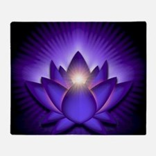 Chakra Lotus - Third Eye Purple - gr Throw Blanket