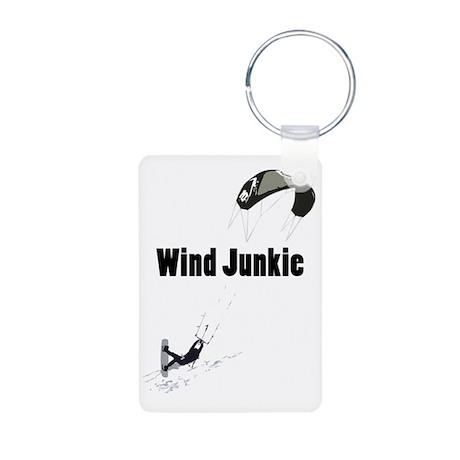 Wind Junkie Black Aluminum Photo Keychain
