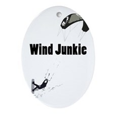 Wind Junkie Black Oval Ornament