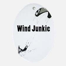 Wind Junkie Black Oval Ornament