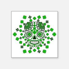 "shamrock sugar skull 2 Square Sticker 3"" x 3"""