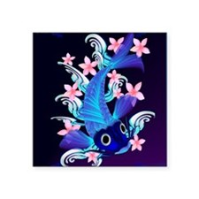 "vetical MousePad  Blue Koi- Square Sticker 3"" x 3"""