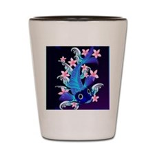 vetical MousePad  Blue Koi-Pink Flowers Shot Glass