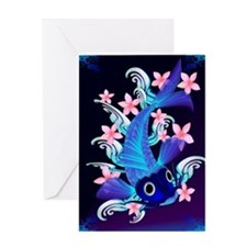 vetical MousePad  Blue Koi-Pink Flow Greeting Card