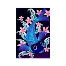 vetical MousePad  Blue Koi-Pink F Rectangle Magnet