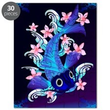 vetical MousePad  Blue Koi-Pink Flowers Puzzle
