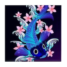 vetical MousePad  Blue Koi-Pink Flowe Tile Coaster