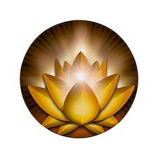 """Chakra Lotus - Solar Plexus Yellow - g 3.5"""" Button"""