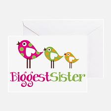 PolkaDotBirds3BiggestSister Greeting Card