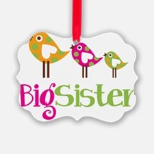 PolkaDotBirds3BigSister Picture Ornament
