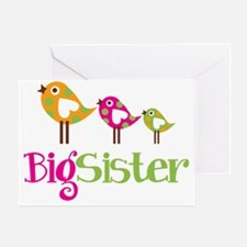PolkaDotBirds3BigSister Greeting Card