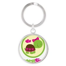 TurtleCircleBiggestSister Round Keychain