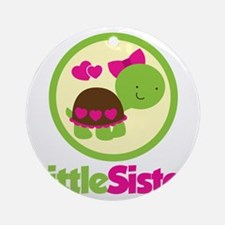 TurtleCircleLittleSister Round Ornament