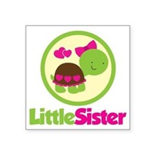 "TurtleCircleLittleSister Square Sticker 3"" x 3"""