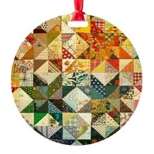 Fun Patchwork Quilt Round Ornament