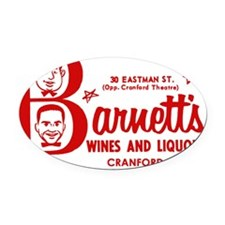 Barnetts Wines and Liquors_Cafe_Re Oval Car Magnet