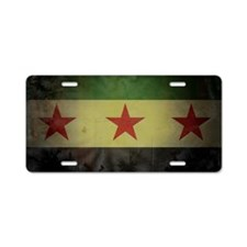 syriaflaggrunge Aluminum License Plate