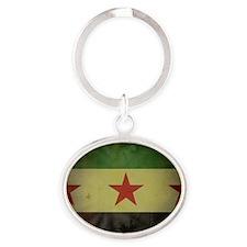 syriaflaggrunge Oval Keychain