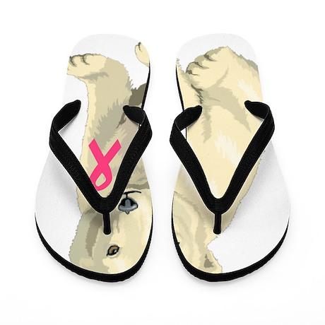 breast cancer pink ribbon polar bear Flip Flops