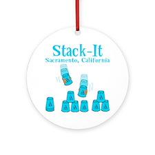 blue 2, Stack-It, Sacramento, Ca sh Round Ornament