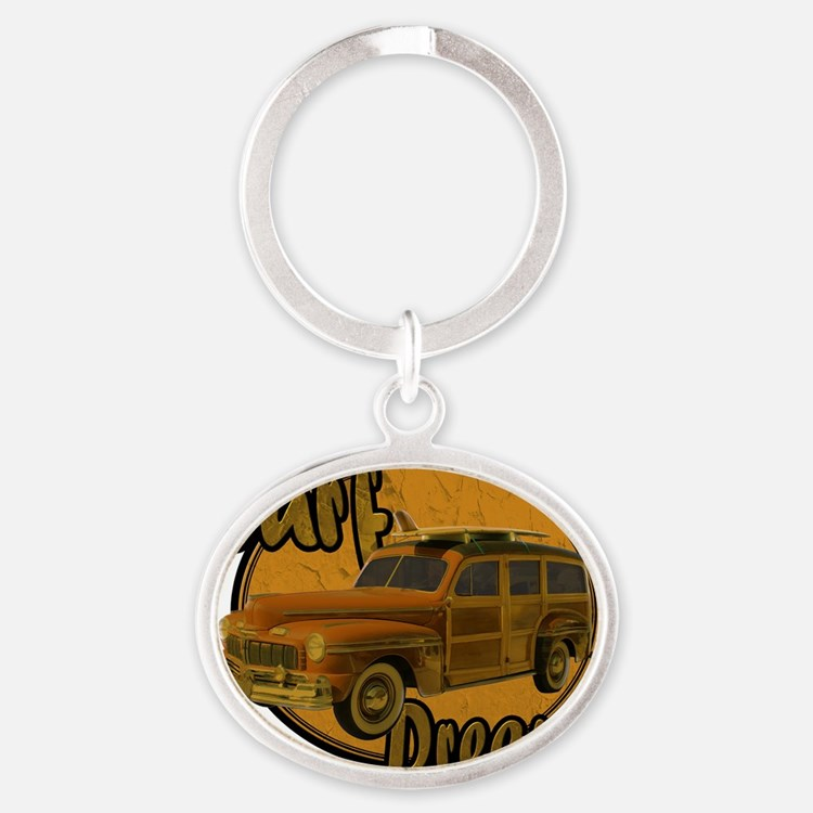 surf dreams brown Oval Keychain