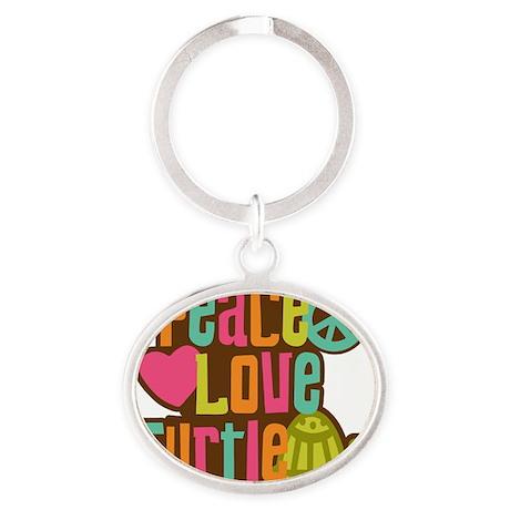 PeaceLoveTurtle2 Oval Keychain