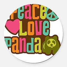 PeaceLovePanda2sq Round Car Magnet