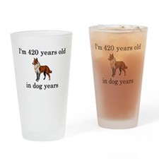 60 birthday dog years collie Drinking Glass