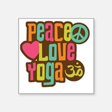 "PeaceLoveYoga1 Square Sticker 3"" x 3"""