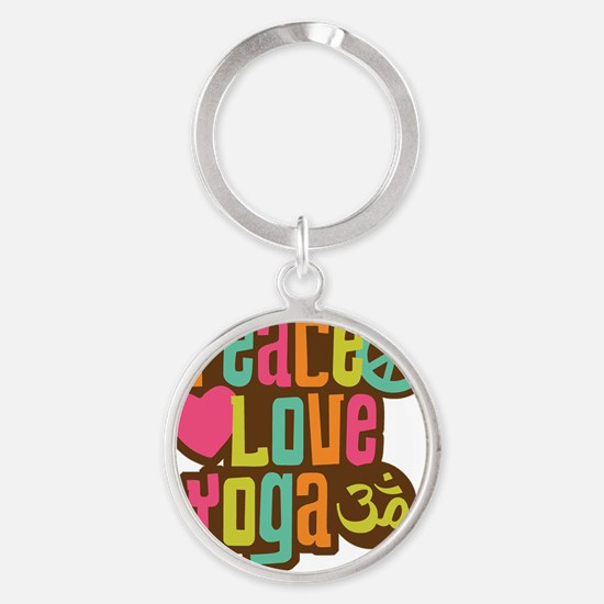 PeaceLoveYoga1 Round Keychain