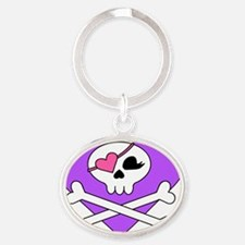 Cute Skull and Crossbones Oval Keychain
