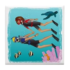 Scuba Scene Couple (brunette/blonde) Tile Coaster