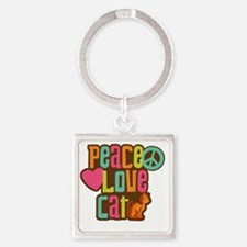 PeaceLoveCat2 Square Keychain