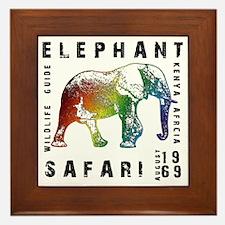 Rainbow Elephant Reserve dark text Framed Tile