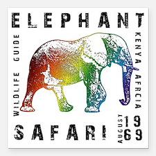 "Rainbow Elephant Reserve Square Car Magnet 3"" x 3"""