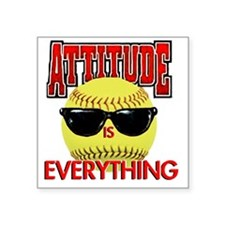 "Attitude_Softball_2500 Square Sticker 3"" x 3"""