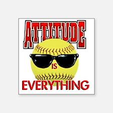 "Attitude_Softball_2500 Square Sticker 3"" x 3"""