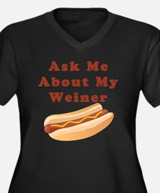 weiner Women's Plus Size Dark V-Neck T-Shirt