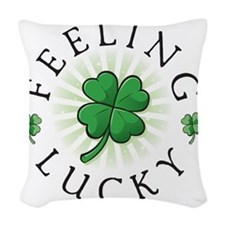 StPat FEEL LUCKY white shirt Woven Throw Pillow