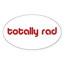 Red 80s Totally Rad Oval Decal