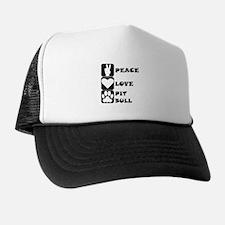 Peace Love Pit Bull Trucker Hat