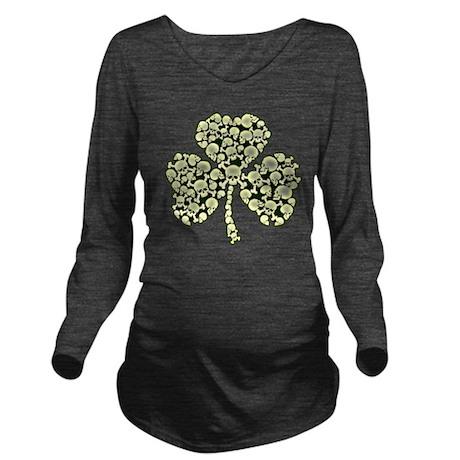 Shamrock Skulls 8920 Long Sleeve Maternity T-Shirt
