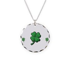 StPat FEEL LUCKY DkGreen shi Necklace Circle Charm