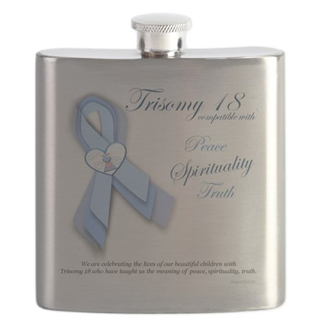 Trisomy 18 Awareness Ribbon (Peace, Spiritua Flask