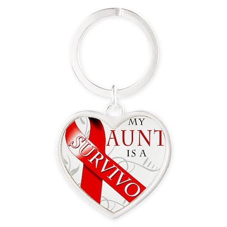 My Aunt is a Survivor Heart Keychain