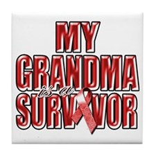 My Grandma is a Survivor (red) Tile Coaster