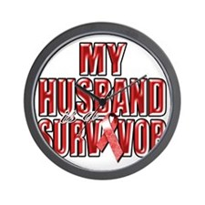 My Husband is a Survivor (red) Wall Clock